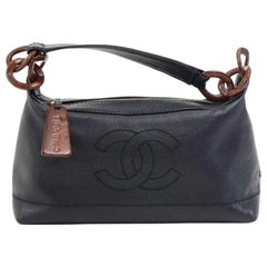 Chanel Black Caviar leather Wood-style Chain Shoulder Bag