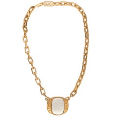 YSL 1980s vintage gold plated white enamel pendant necklace