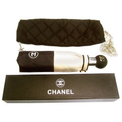 Chanel Tan & Black Umbrella in Quilted Bag with Chanel Box circa 21st C