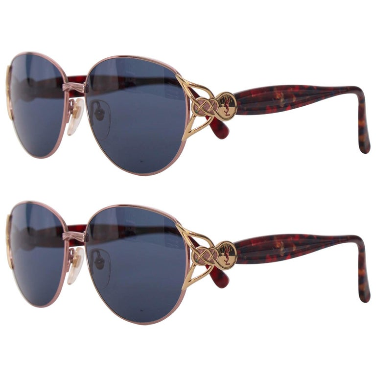 A Pair of 1980s Vintage Yves Saint Laurent Red Turtoise Sunglasses