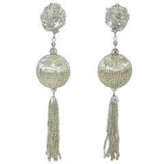 Vintage Silver Bead Tassel Dangle Disco Earrings