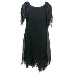 Dior by Marc Bohan Haute Couture Black Silk Chiffon Layered Evening Dress - 1980
