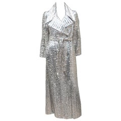 1970's Silver Sequin Full Length Maxi Trench Style Coat