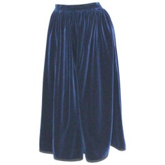 Blue Velvet Pleated Vintage Skirt by Yves Saint Laurent Rive Gauche