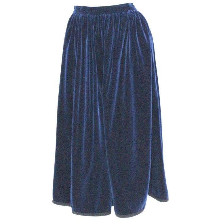12d366f9b Blue Velvet Pleated Vintage Skirt by Yves Saint Laurent Rive Gauche For Sale
