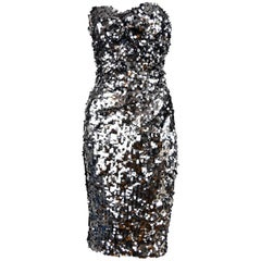 Dolce & Gabbana Silver Sequin Strapless Dress - Size IT 42