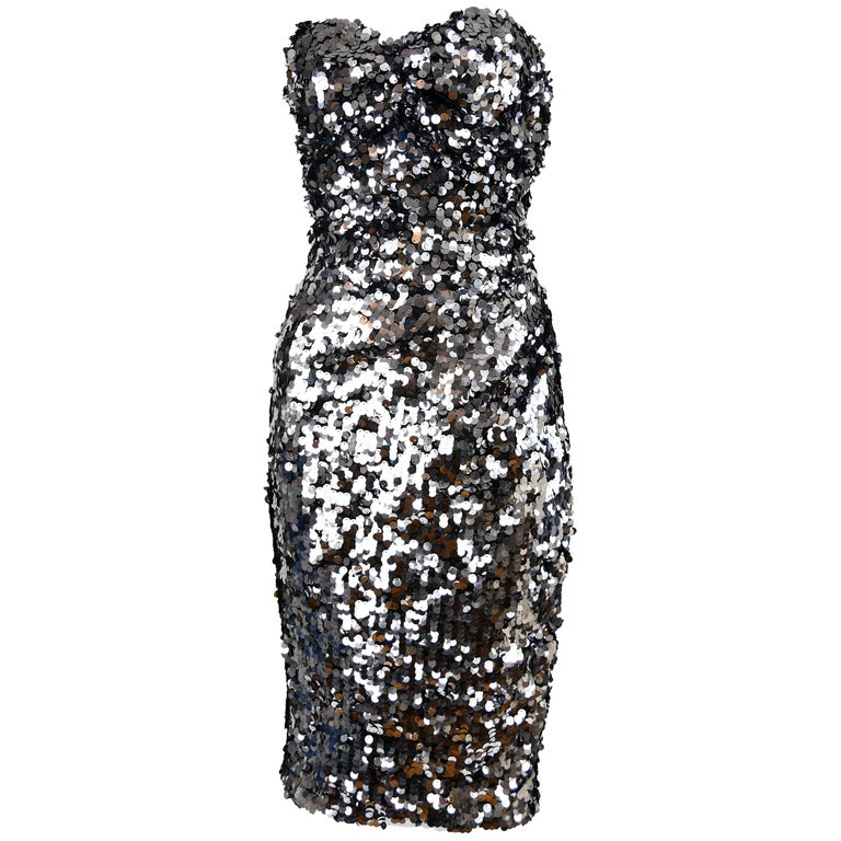 90c68db4000 Dolce and Gabbana Silver Sequin Strapless Dress - Size IT 42 For ...