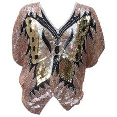 1970's Sequin Disco Black Silk Butterfly Top