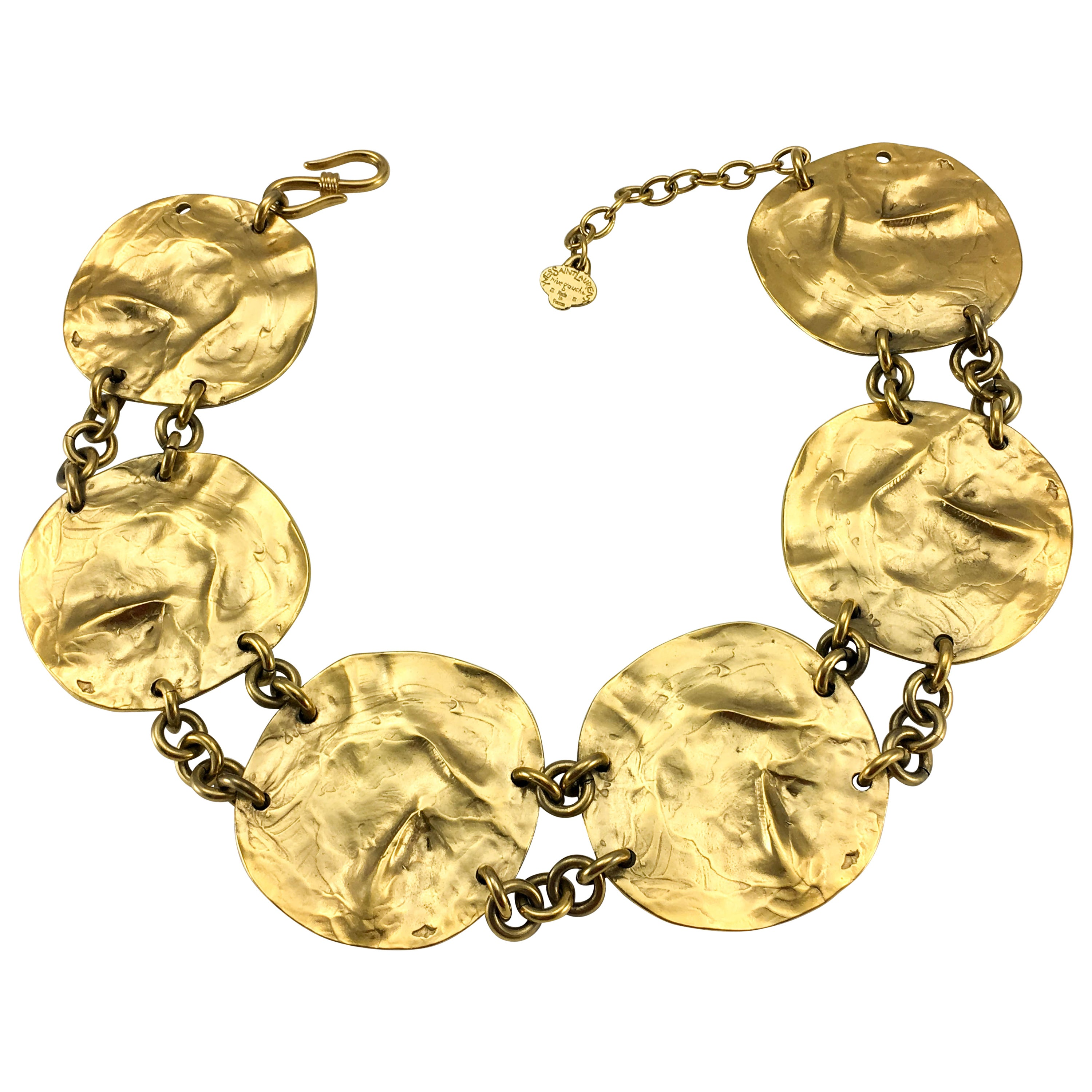 6e3ae3a115e Yves Saint Laurent by Robert Goossens Gold-Plated Disk Necklace, 1989 at  1stdibs