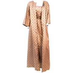 1950s Rose Gold Brocade Evening Gown with Jacket