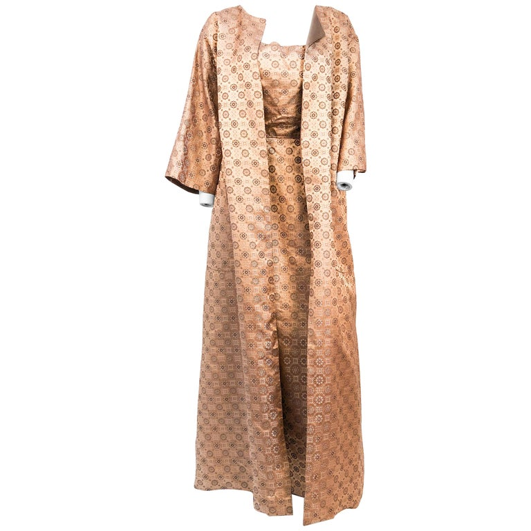 1950s Rose Gold Brocade Evening Gown with Jacket For Sale at 1stdibs