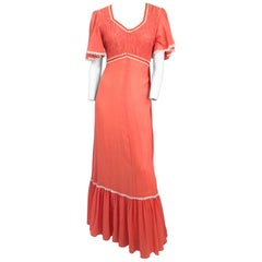 1970s Sherbet Orange Maxi Dress