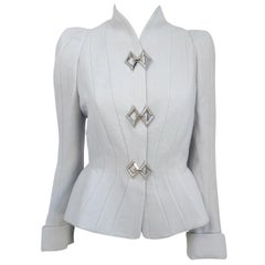 1980s Theirry Mugler Grey Paneled Jacket with Silver-toned Adornments