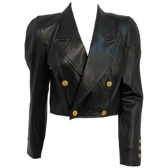 1980s North Beach Leather Cropped Jacket With Brass Buttons