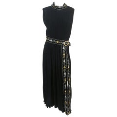 1960s Black Pleated Sleeveless Dress with Velvet and Metallic Details