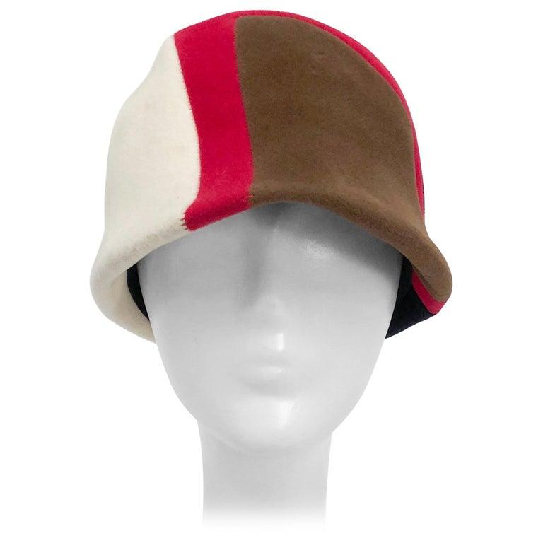 1960s Caroline Mod Hat With Geometric Pattern For Sale