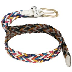 1980s Multicolored Leather Braided Belt