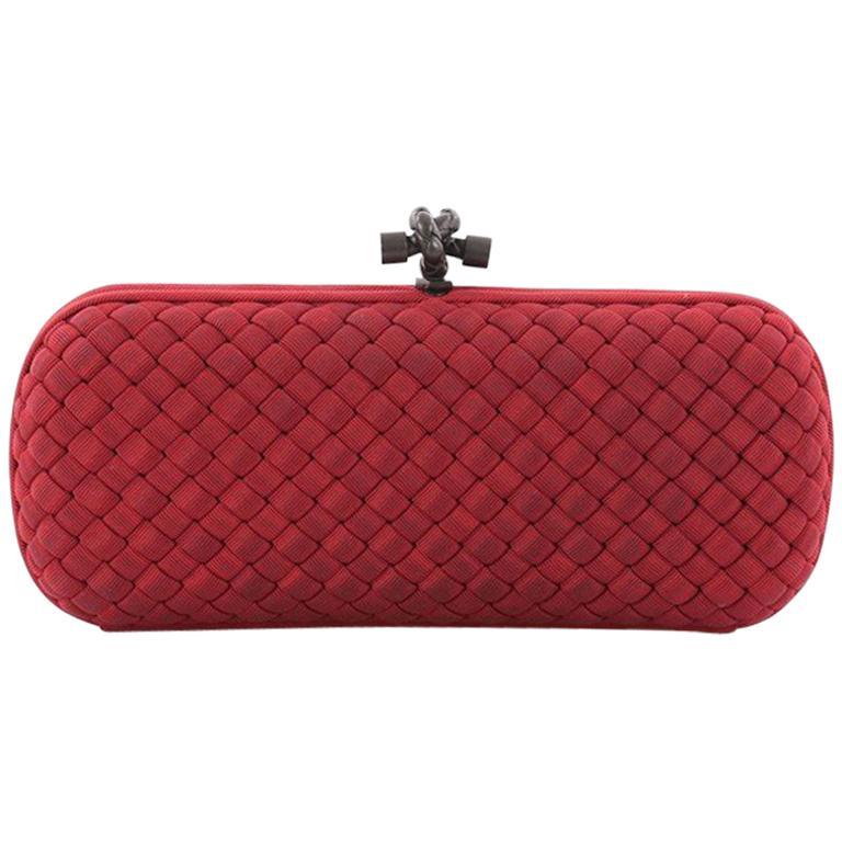 Bottega Veneta Box Knot Clutch Intrecciato Silk Faille Long For Sale