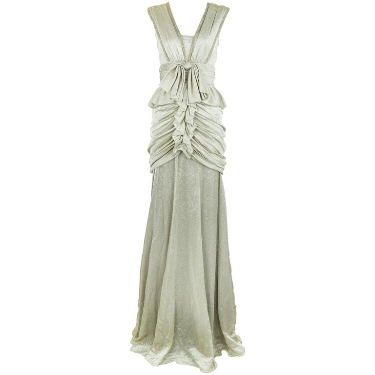Viktor & Rolf Silver Sleeveless Gown  For Sale