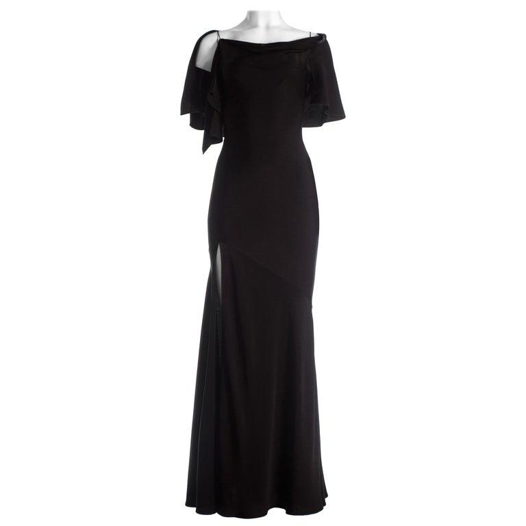 John Galliano black bias cut evening dress with capelet and leg slit, c. 2000s