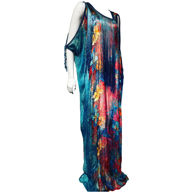 1970s Style Turquoise Silk Floral Print Chiffon Kaftan W/ Long Silk Dyed Fringe