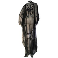 1970s Style Black Net / Beaded Net Bib Front and Butterfly Sheer Fabric Kaftan