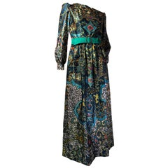 Oscar de La Renta Bohemian Print Satin Maxi Dress and Emerald Suede Belt, 1970s