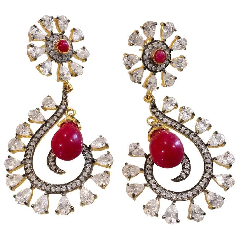 MEGHNA JEWELS Rani Earrings Cubic Zircon For Sale