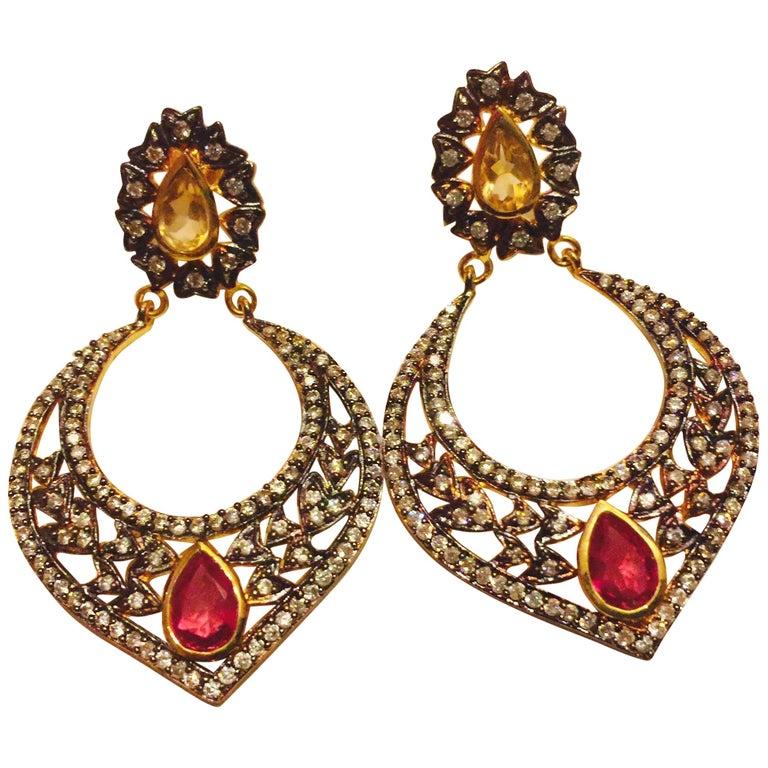 Taj Faux Ruby Crystal Earrings  For Sale