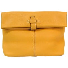 Hermes Mustard Yellow Leather Whipstitch Fold Over Flap Evening Lunch Clutch Bag