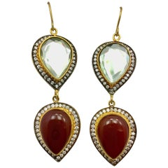Meghna Jewels Handmade Polki mirror & Burgundy Resin Earrings