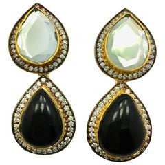 Meghna Jewels Handmade Polki Mirror & Black Resin Earrings