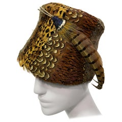 1960s Pheasant Feather Hat In Brilliant Colors Custom Made In San Francisco
