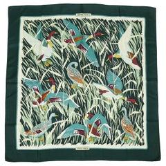 Hermes Vintage Silk Carre Scarf Cols Verts by Christiane Vauzelles