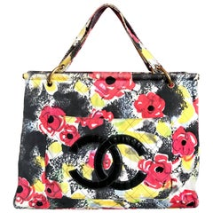 Vintage CHANEL red flower, yellow, and black water color print large tote bag.