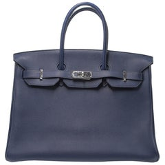 Hermes Blue Nuit 35cm Birkin Bag