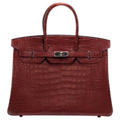 Hermes Matte Alligator Bourgogne 35cm Birkin Bag