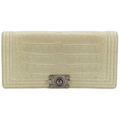 Chanel Beige Crocodile Leather Mini Boy Day Clutch