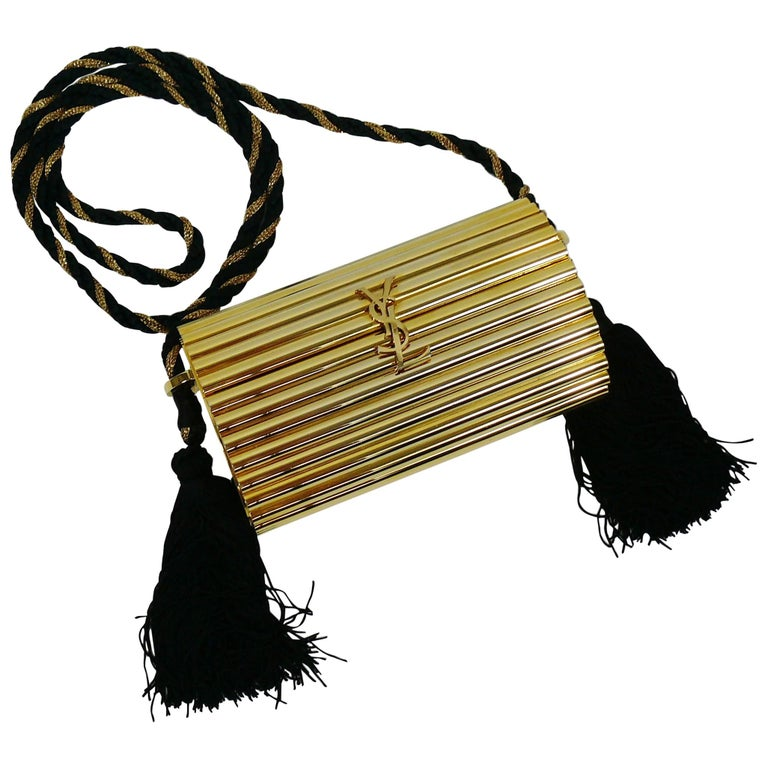 1906b9b551c8 Yves Saint Laurent YSL Vintage Gold Tassel Minaudiere For Sale at 1stdibs
