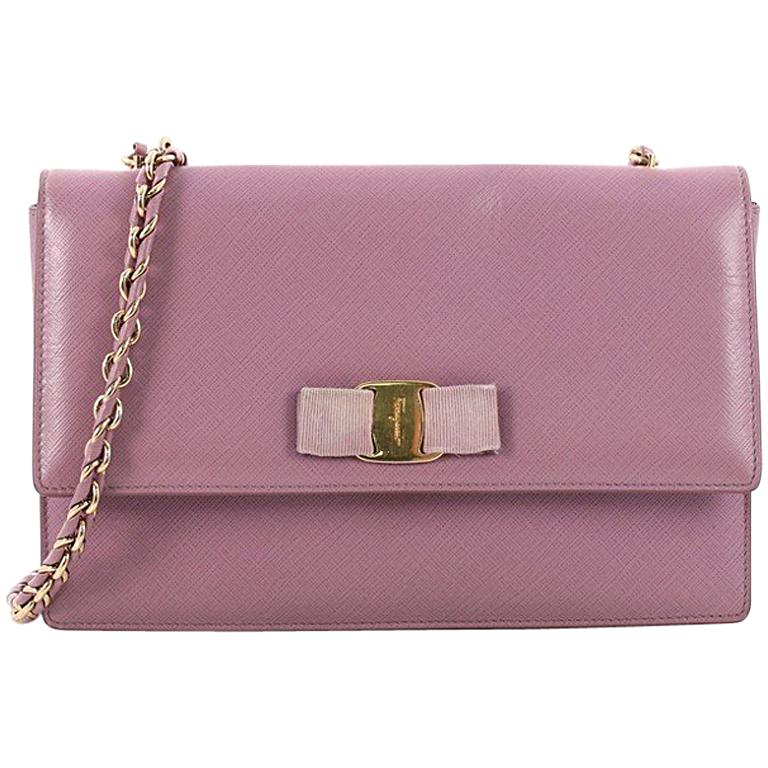 b68101b7f6d5 Salvatore Ferragamo Ginny Crossbody Bag Saffiano Leather Medium For Sale