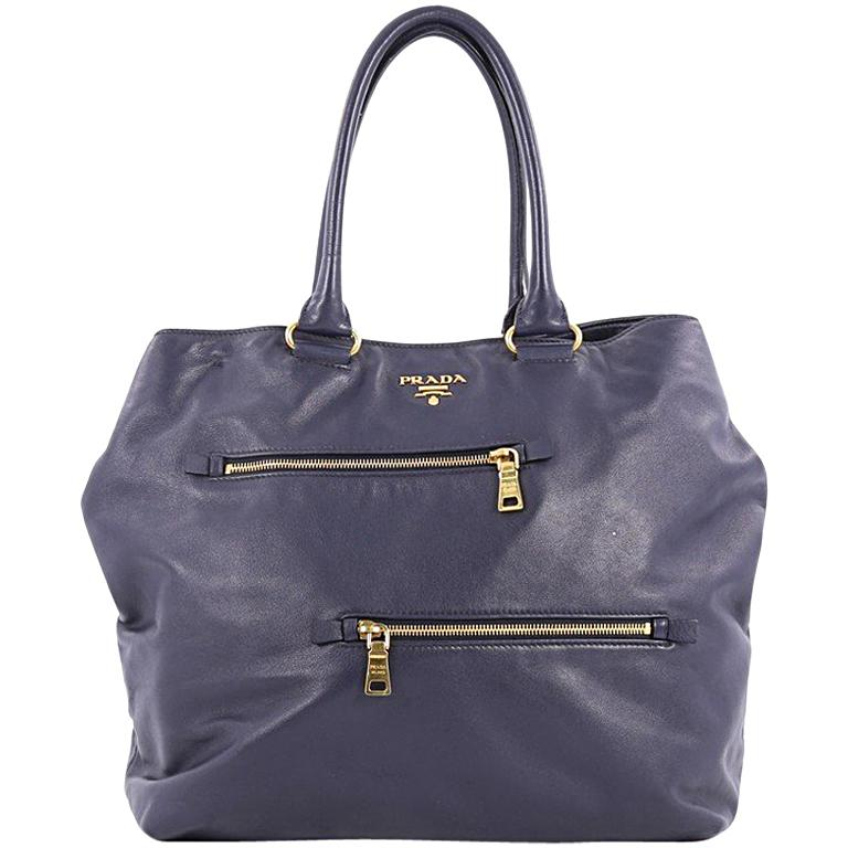 Prada Convertible Zipper Detail Tote Soft Calfskin Large For Sale