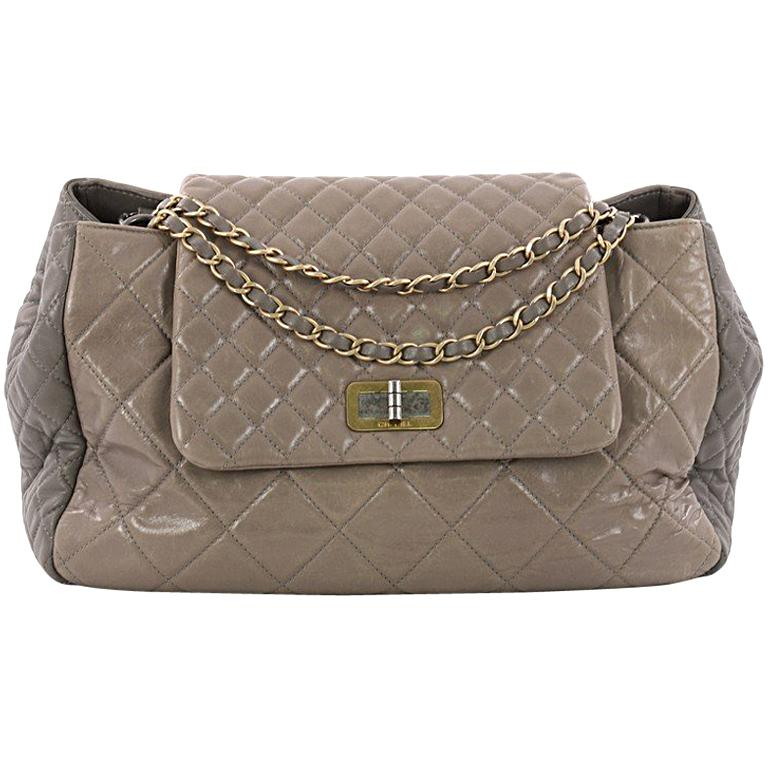 Chanel East West Mademoiselle Lock Tote Quilted Glazed Calfskin Large For  Sale