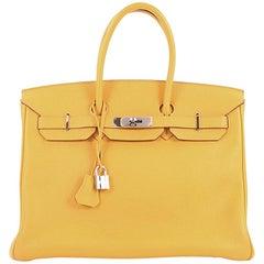 Hermes Birkin Handbag Soleil Togo with Palladium Hardware 35