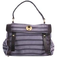 Saint Laurent Muse Two Handbag Crocodile Embossed Suede with Leather Medium