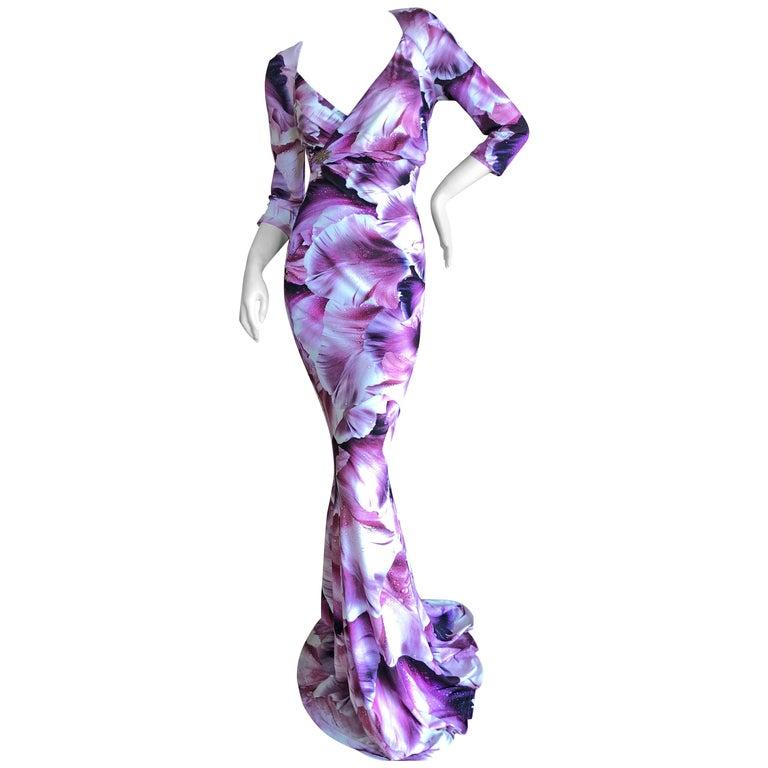 Roberto Cavalli Vintage Orchid Print Pink and Black  Evening Dress