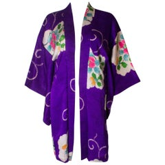 Purple Silk Kimono Jacket with Wonderful Lining