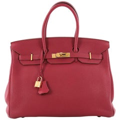 Hermes Birkin Handbag Rubis Red Togo with Gold Hardware 35