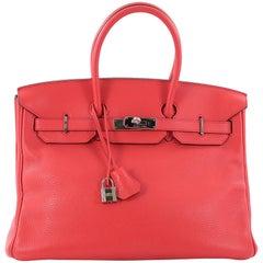 Hermes Birkin Handbag Rose Jaipur Clemence with Palladium Hardware 35