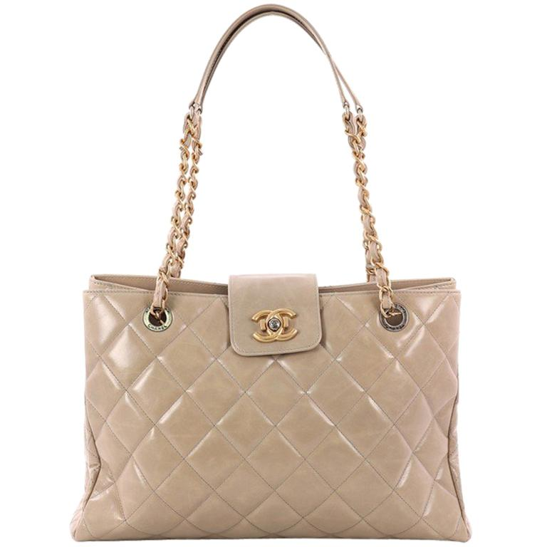 25e2e95b0696 Chanel Daily Walk Shopping Tote Quilted Glazed Calfskin Medium For Sale