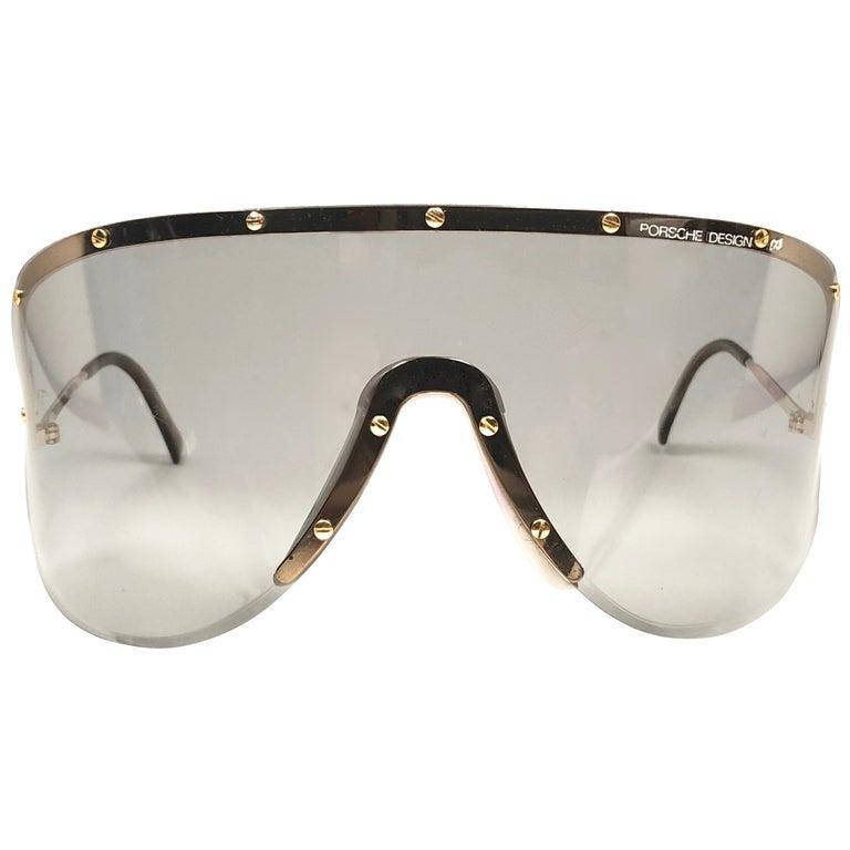 bbf1f2354c9d Porsche Design 5620 Gold and Grey Vintage Shield Yoko Ono Sunglasses ...